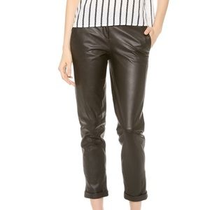 Theory 100% Lambskin Leather Black Cropped Pants